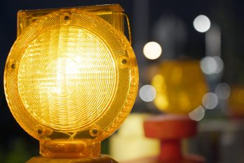 Yellow caution light at street